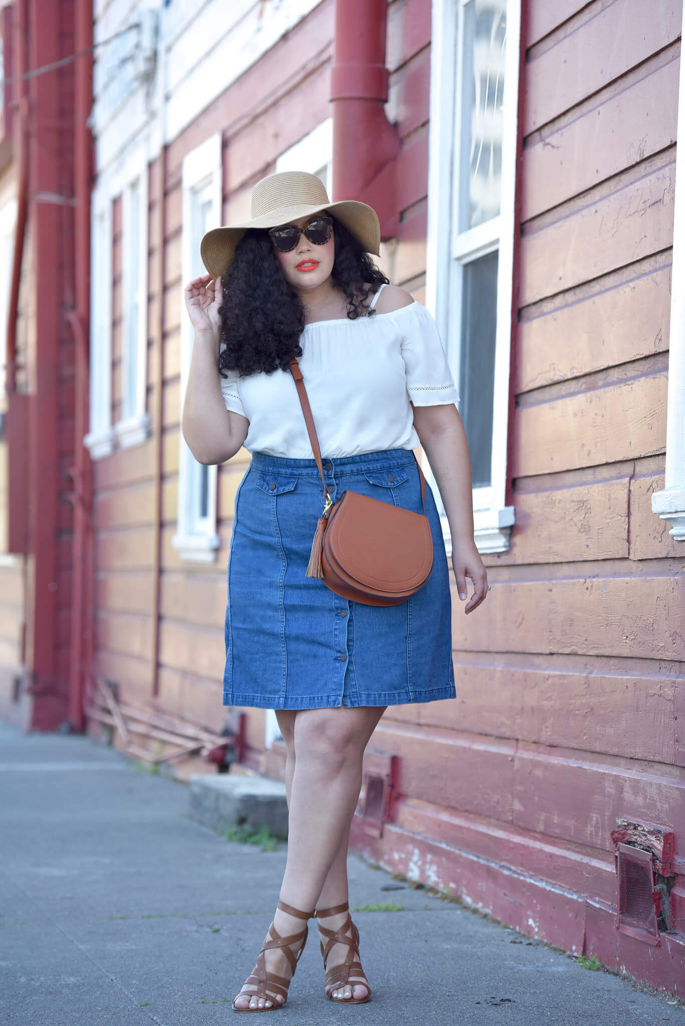Off Shoulder Top, Denim Skirt (plus size), Tanesha Awasthi