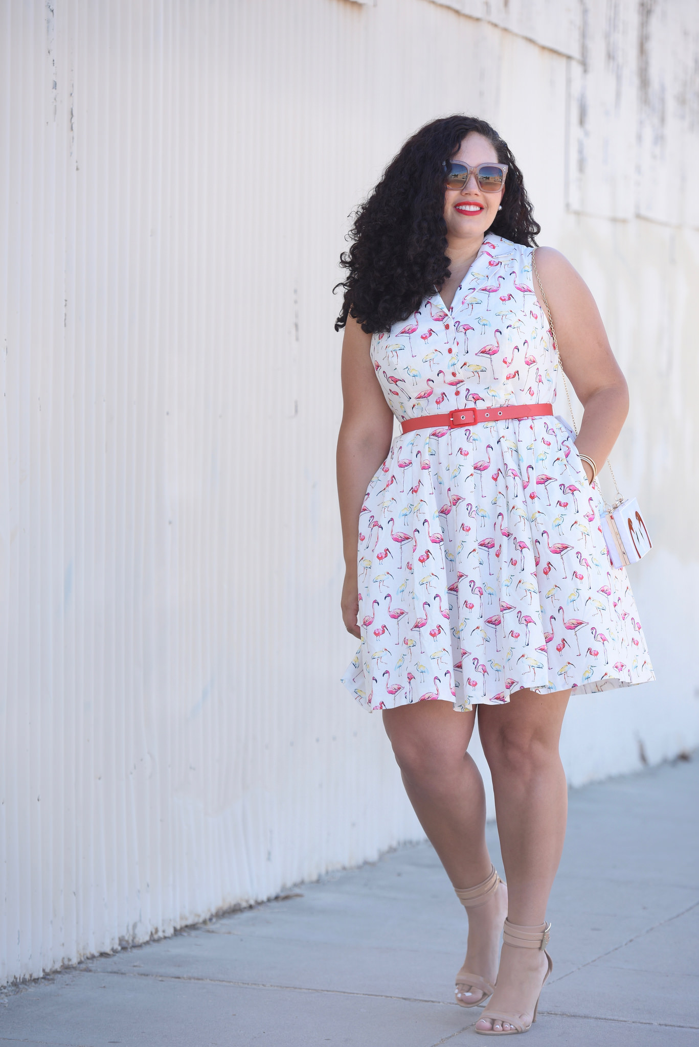 Tanesha Awasthi (formerly known as girl with curves) wearing a vintage inspired Flamingo print dress from ModCloth.