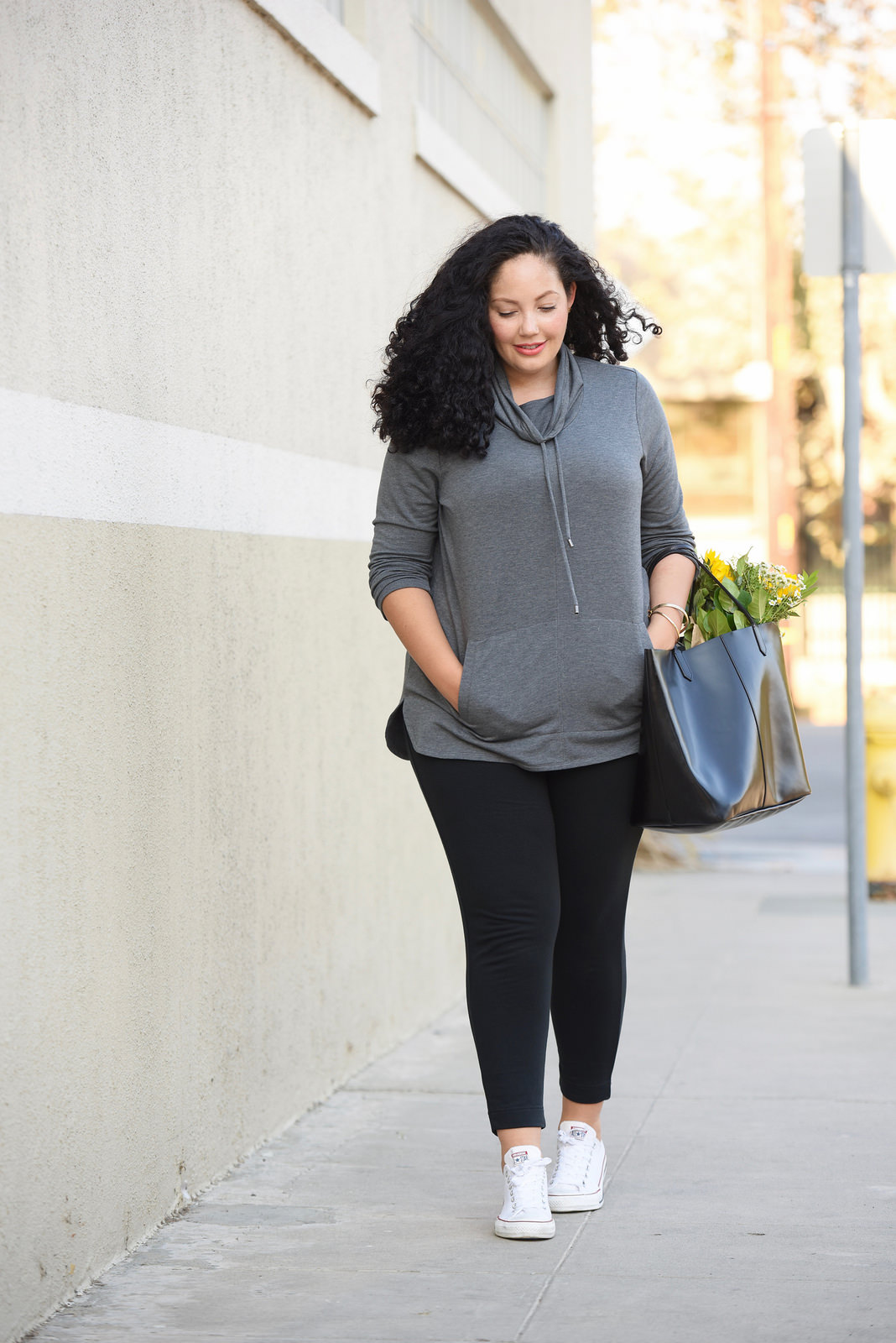 on Girl With Curves: Tunic Pullover, Knit Pants, Converse and Givenchy tote bag