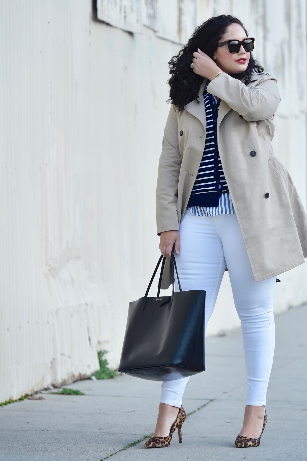 Girl with Curves featuring Trench Coat, Stripe Tunic, Stripe Cardigan, and White Jeans from Old Navy.
