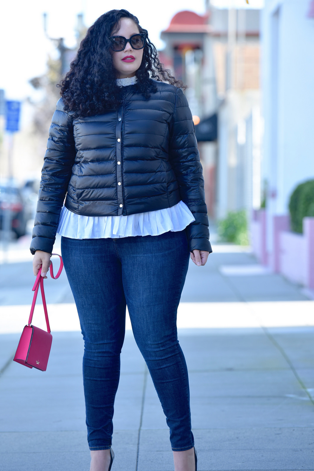 Featuring a puffer jacket from Ralph Lauren, Top from Eloquii, Rockstar Jeans from Old Navy, bag from Kate Spade, and Lipstick from Mac