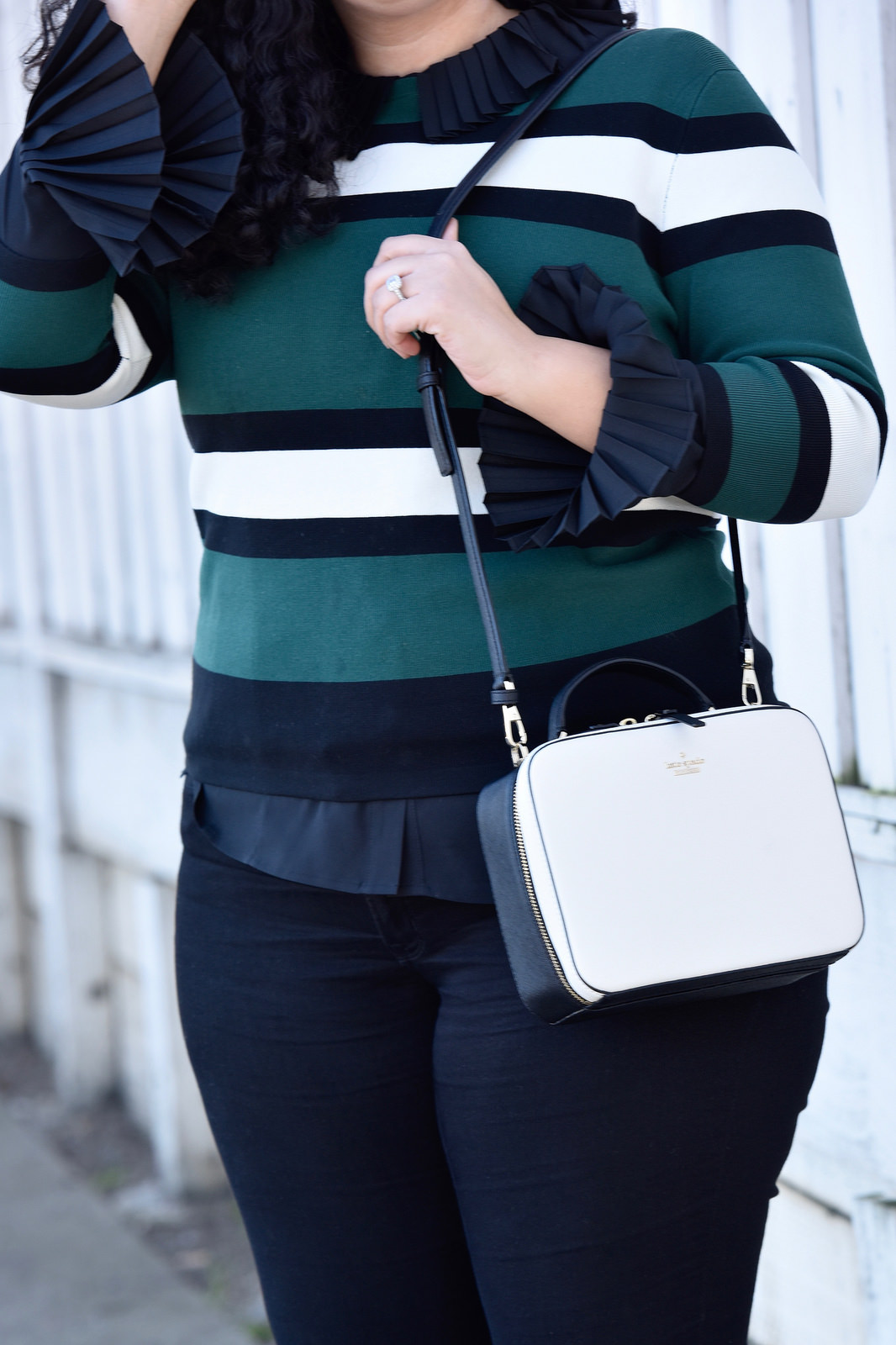 Sweater from Asos, Top from Eloquii, Pants from Old Navy, Bag from Kate Spade Via @GirlWithCurves