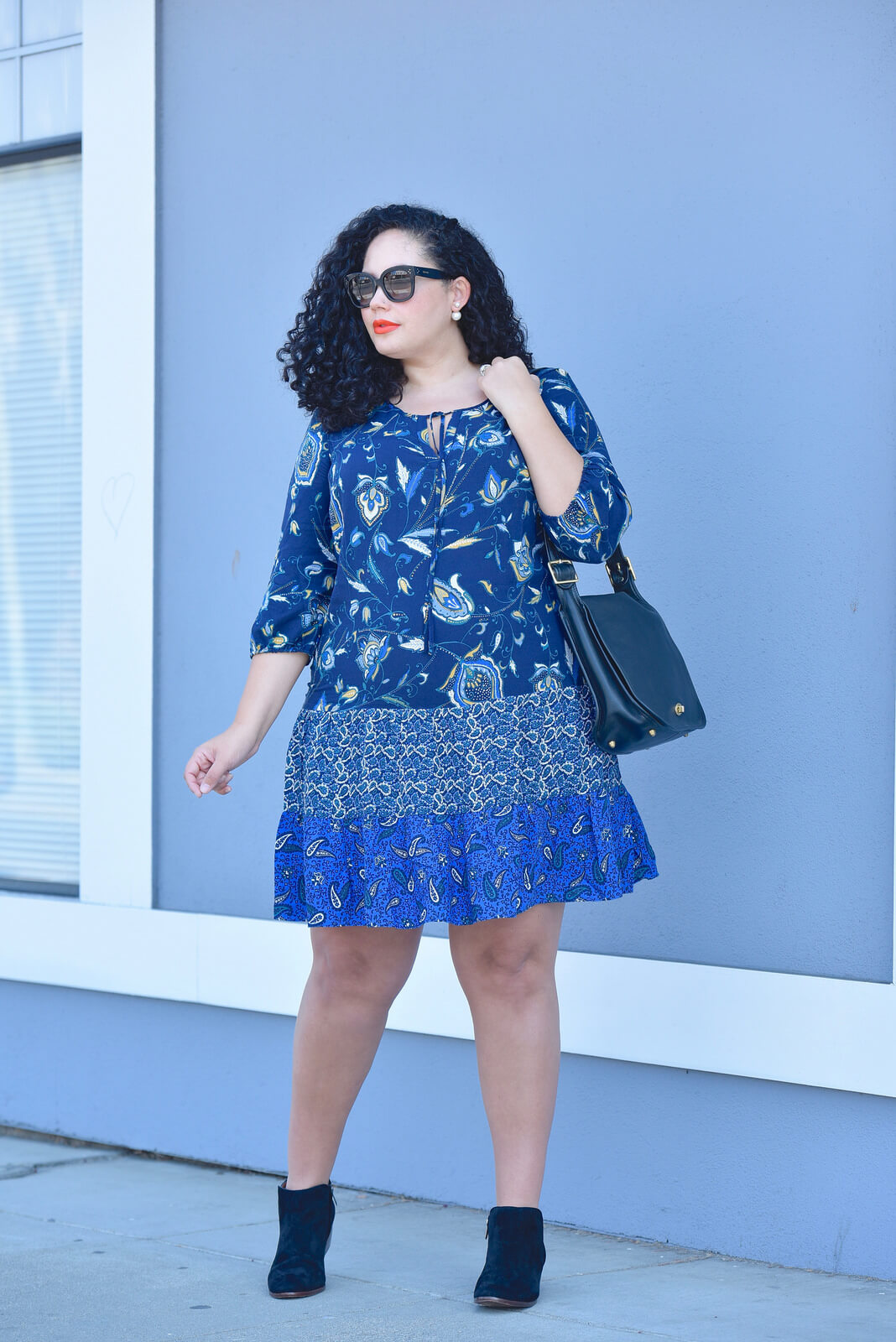 Girl With Curves featuring a Mixed Print Dress (plus size), Suede Booties, Coach Bag for fall.