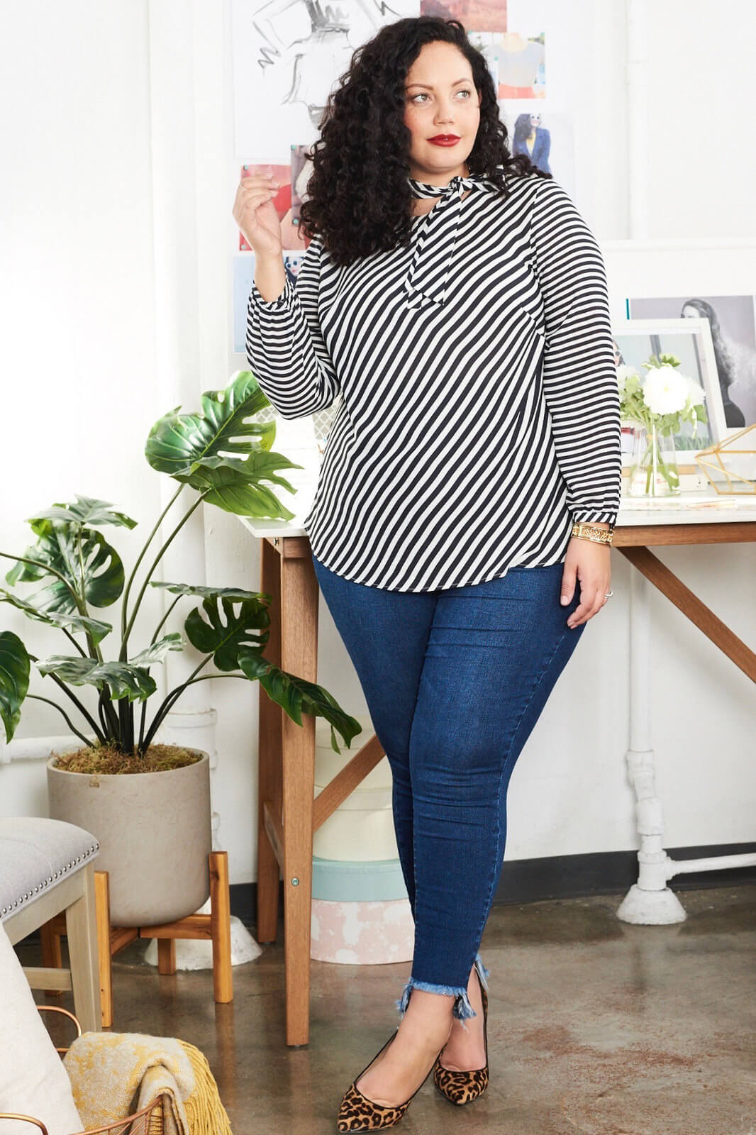 Girl With Curves Fall 2017 Strip Blouse With Jeans