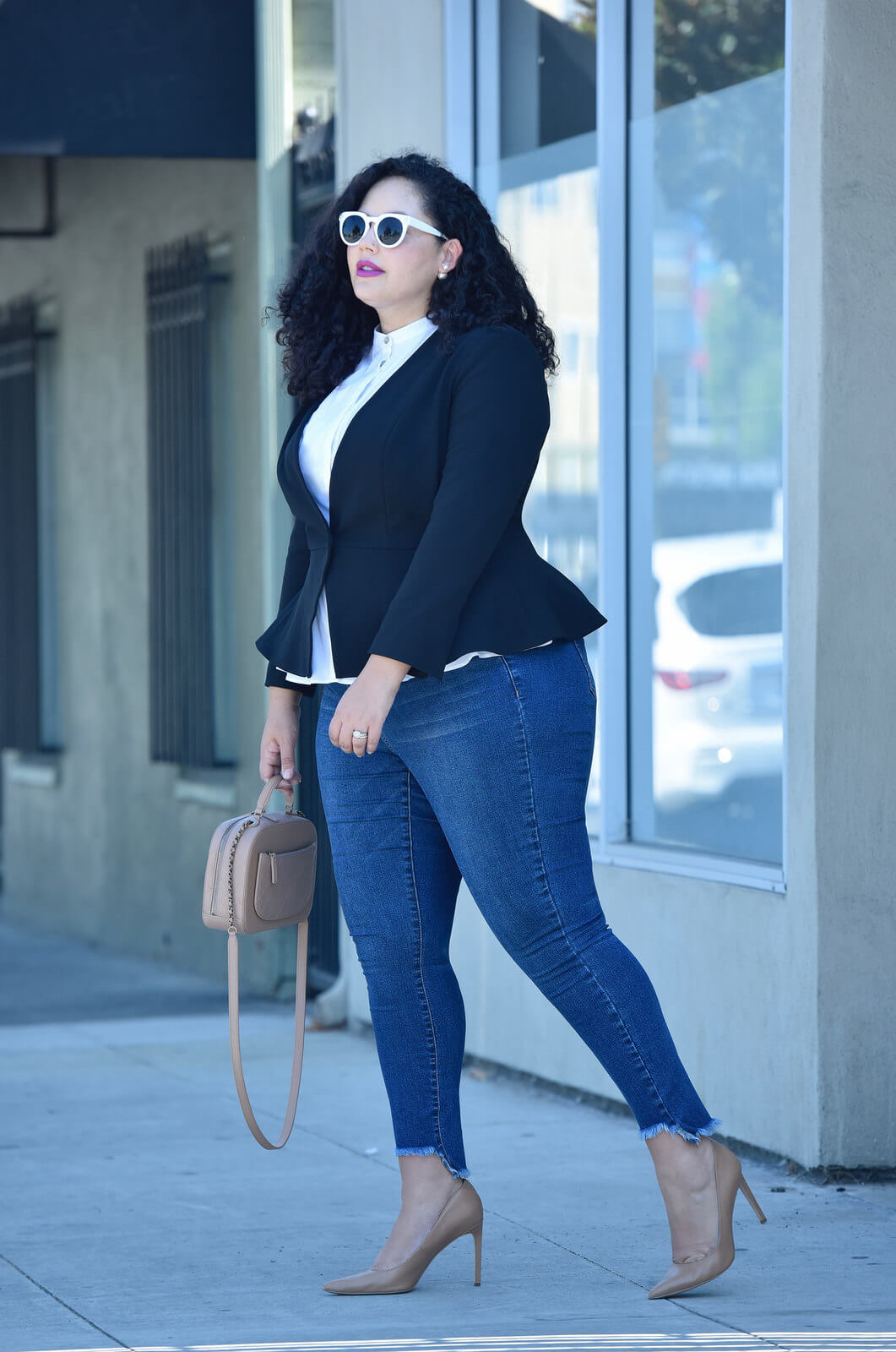 Girl With Curves Fall 2017 Collection peplum blazer, step hem skinny jeans, peplum top, plus size clothing, plus size fashion, curvy fashion, curvy style, peplum, Girl With Curves collection x Dia & Co, via @GirlWithCurves