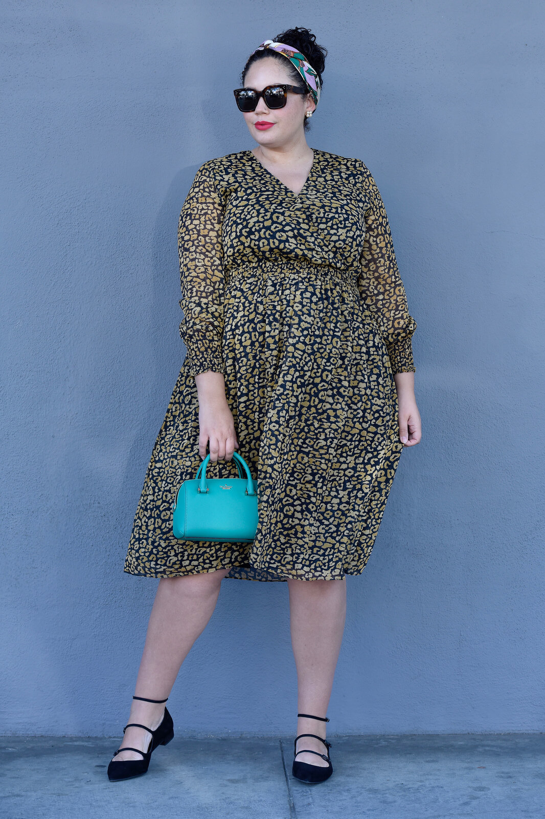 Featuring Leapord Print Long Sleave Dress By Whowhatwear, Bag By Kate Spade, Sunglasses By Celine, Shoes By Stuart Weitzman And A Headband via @GirlWithCurves