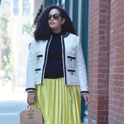 How To Wear The Metallic Trend via @GirlWithCurves #Satin #Midi #skirt #tweed #jacket #plussize #curvy #fall #chanel #leopard #girlwithcurves