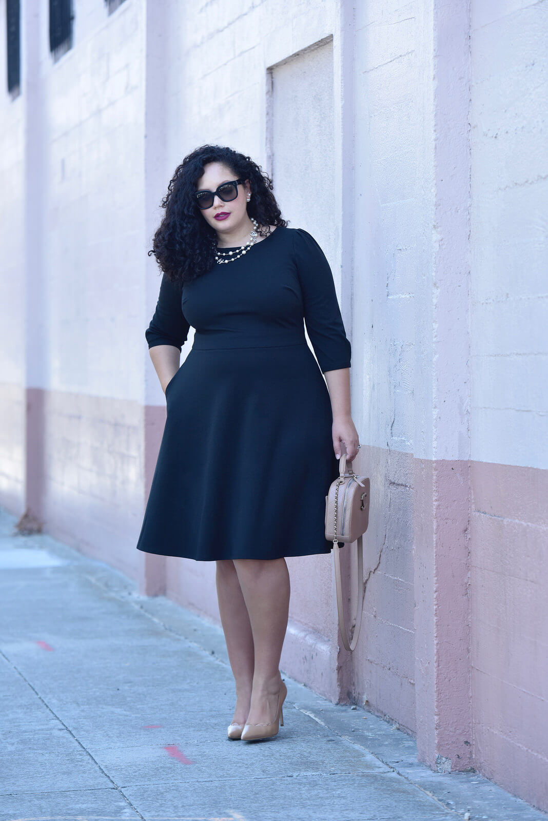 little black dress, fit and flare dress, black dress, black plus size dress, black midi dress, dress with pockets chanel bag, chanel necklace, celine sunglasses, girl with curves collection at dia & co via @GirlWithCurves