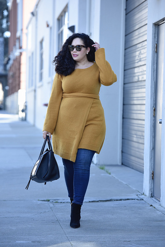 How To Wear A Dress Over Jeans Via @GirlWithCurves #fashion #style #outfits