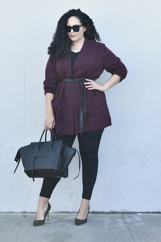 How I'm Styling Sweaters This Season Via @GirlWithCurves #celine #belt #leggings #blogger #plussize