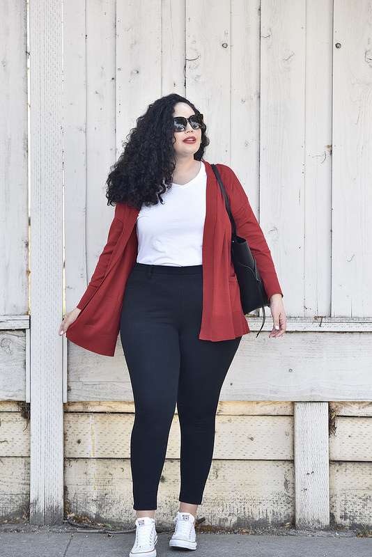 This Outfit Proves Cardigans Are Cool Via @GirlWithCurves #falluniform #red #celine