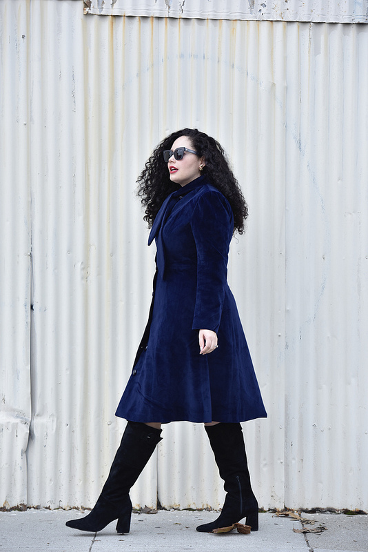 These Are The Boots I'll Wear Year After Year Via @GirlWithCurves #boots #dress #jacket #midi #modcloth