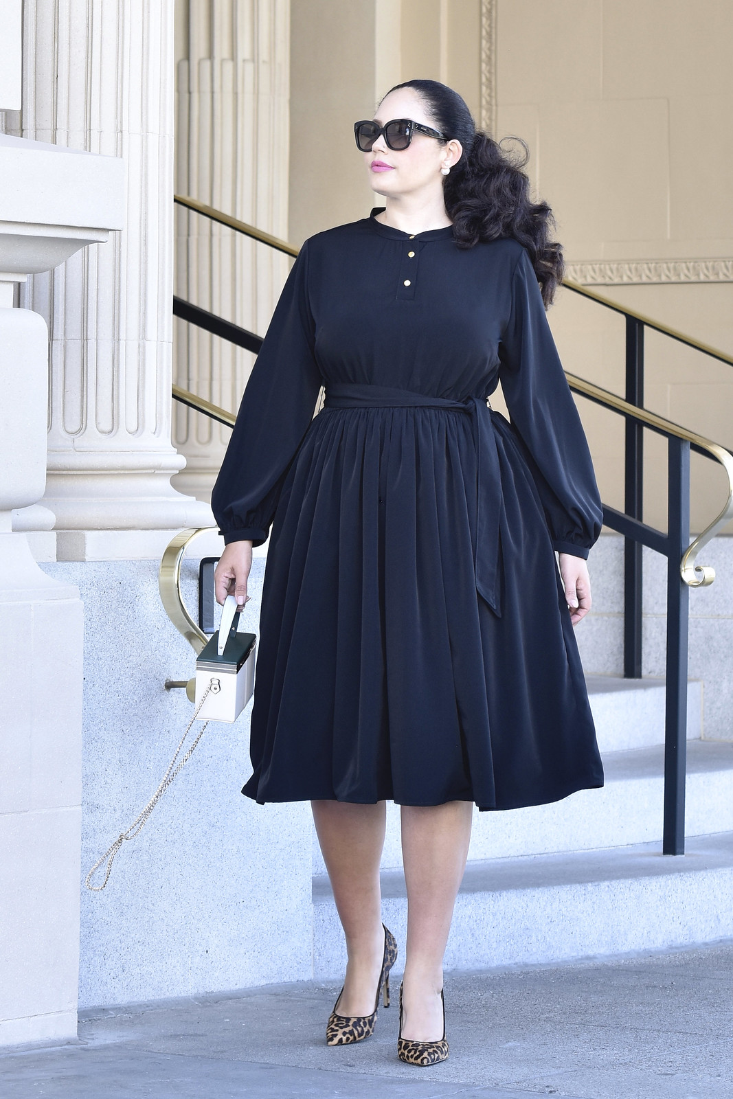 Gold Button Shirtdress From Girl With Curves Collection #black #plussize #dress #fashion #style #curvy #long #sleeve #modest