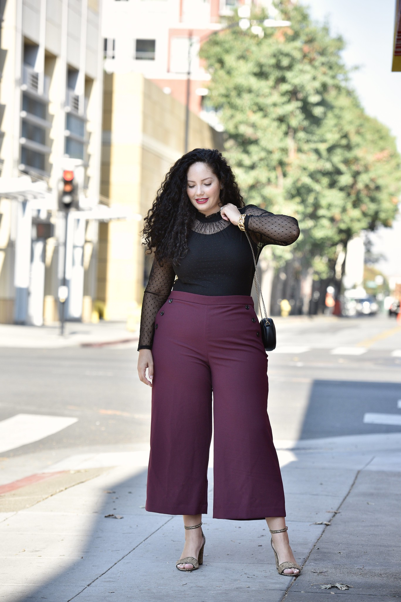 A Holiday Party Outfit Anyone Can Pull Off via Girl With Curves #officewear #holiday #wide #leg #pants #plussize #plus #size