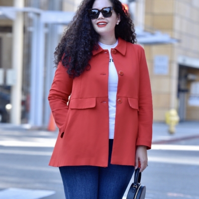 An Easy Outfit Formula that Never goes out of Style via Girl With Curves #style #plussize #curvy #fashion #red #jacket #coat