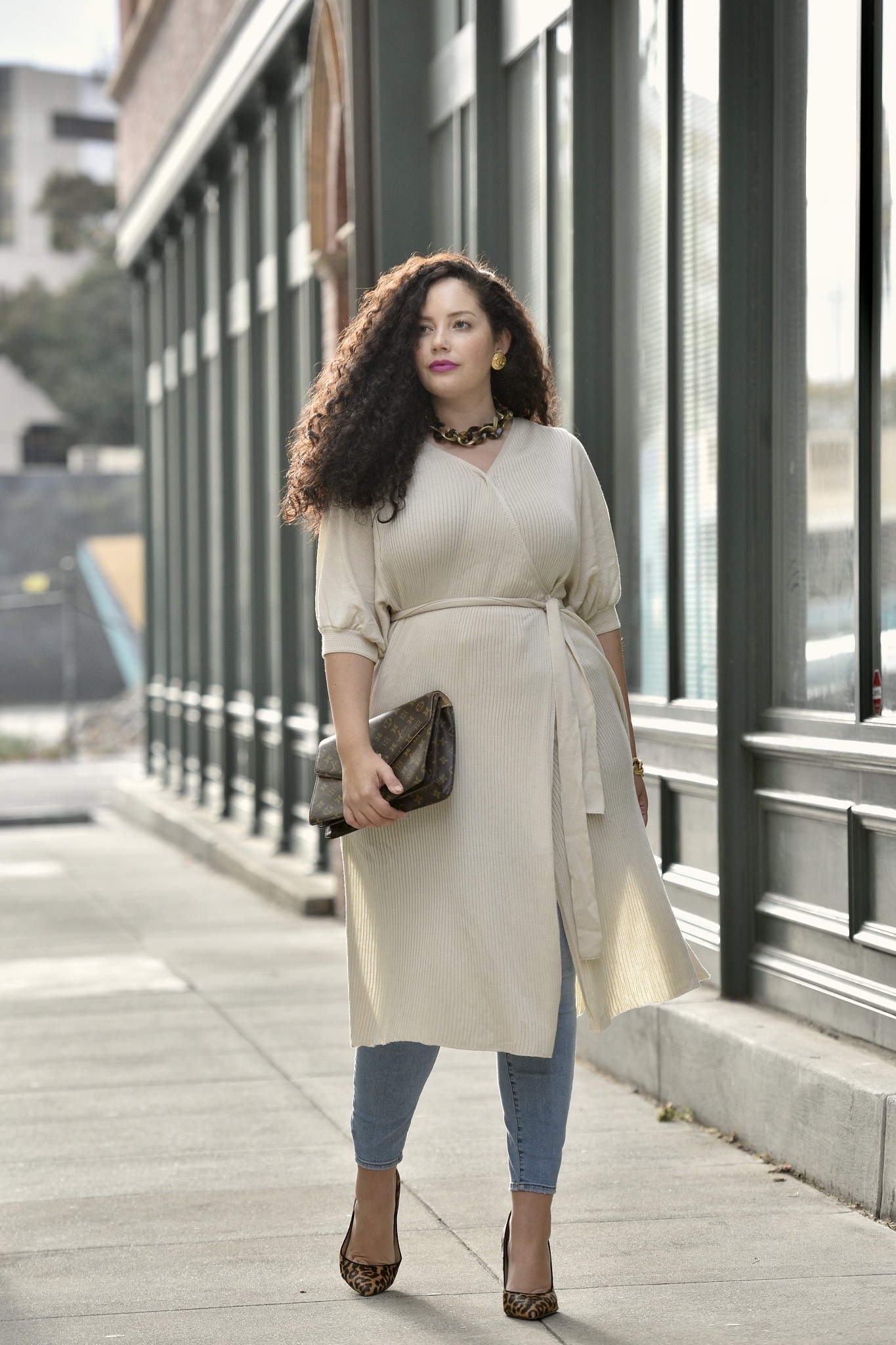 My Favorite Way to Wear a Sweater Dress via Girl With Curves #sweater #jeans