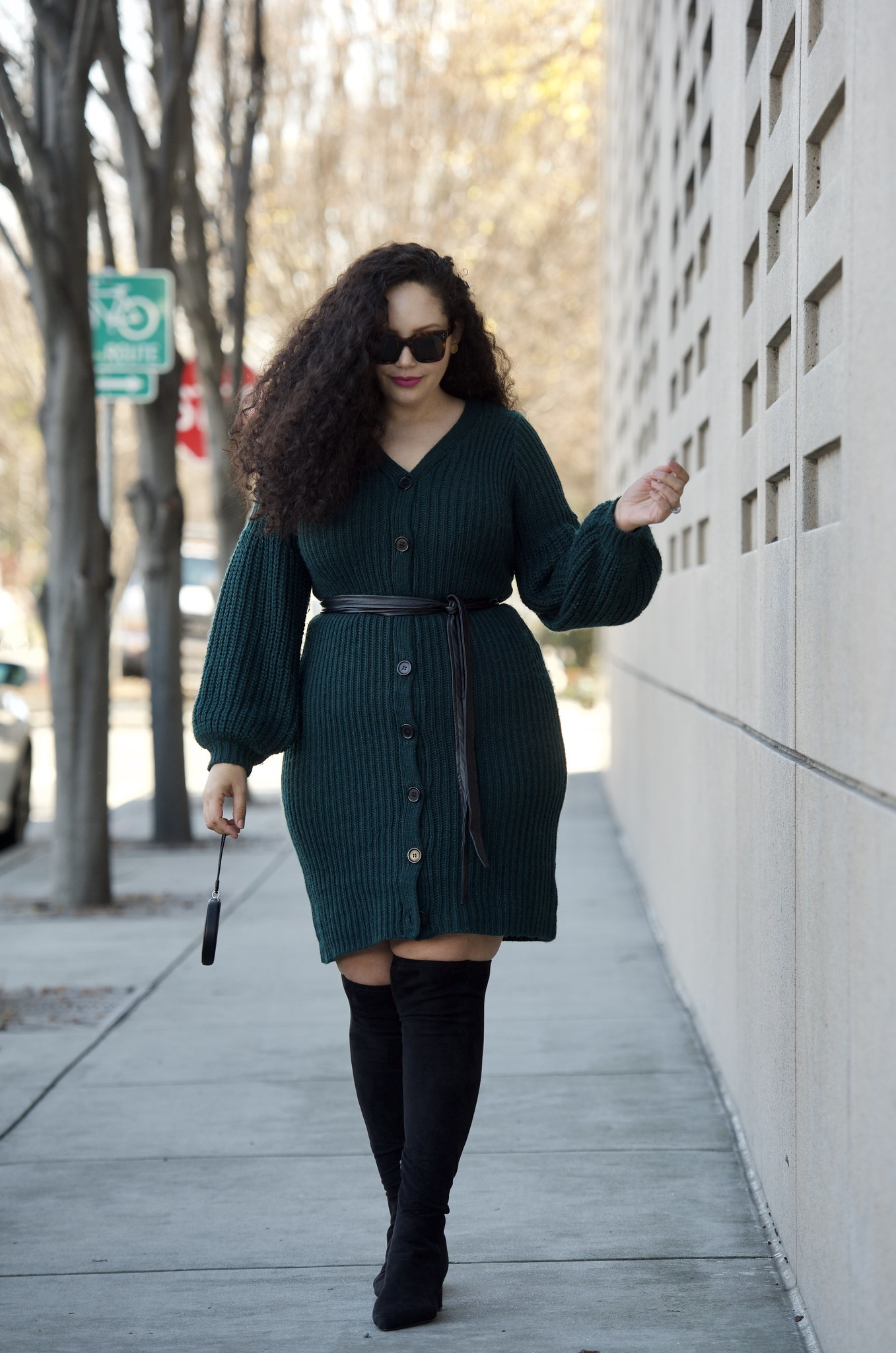 This is my Favorite Dress Style to Wear Right Now via Girl With Curves #curvyconfidence #bodypositive #plussizefashion #widecalfboots